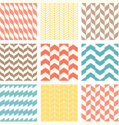 set chevron and zigzag seamless pattern vector image