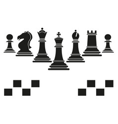 set of chess club play icons black vector image