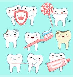 set of cute teeth icons in kawaii style vector image