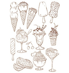 Set of isolated sketch ice cream icons vector