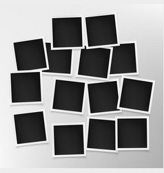 set photo frames on grey wall template vector image