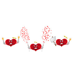 set red cartoon heart with crackers and tinsel vector image
