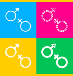 sex symbol sign four styles of icon on four color vector image