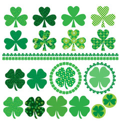 shamrocks with texture and patterns vector image
