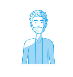 Silhouette cute man with hairstyle and beard vector