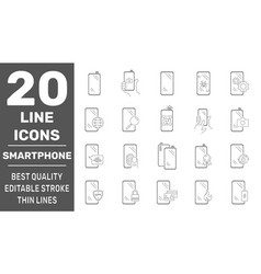 smartphones icon set collection high quality vector image
