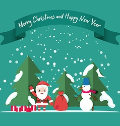 Snowman Santa snow Christmas trees gifts under the vector image