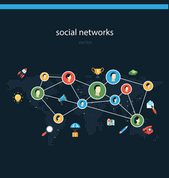 social networks flat vector image
