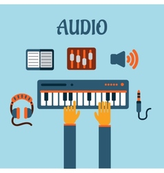 Sound recording flat concept vector image