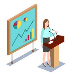 Speaker speech about growth plan on board vector