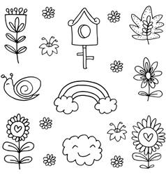 Spring element doodles vector