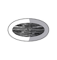 sticker monochrome oval piece wooden board with vector image