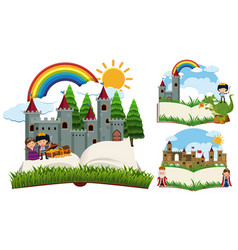 Storybook with fairytale characters and castles vector