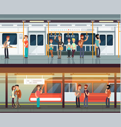 subway inside with people man and woman metro vector image