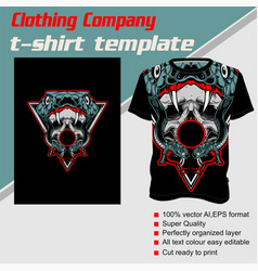T-shirt template fully editable with snake skull vector