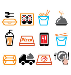 Take away box meal icons set chinese food vector