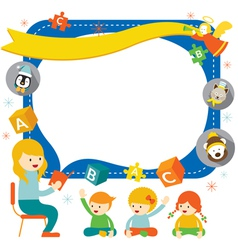 Teacher teach Kids with Icons Frame vector image