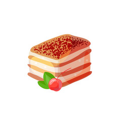 tiramisu with cherry vector image