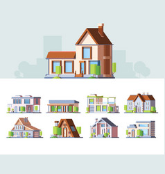 townhouse small cottages colorful flat vector image