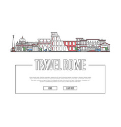 travel rome poster in linear style vector image