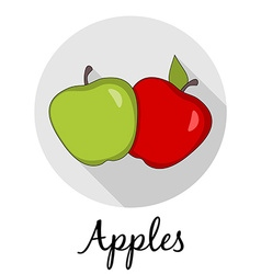Two apples with long shadow Caption Isolated vector image