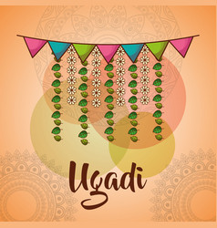 Ugadi celebration garland flowers mandala vector
