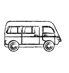 Van vehicle transport classic sketch vector