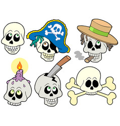 Various skulls collection vector