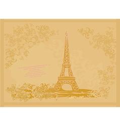 Vintage retro Eiffel tower card vector