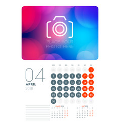 wall calendar planner template for april 2018 vector image