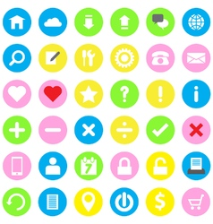 web icon flat style on colorful circle background vector image
