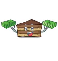 With money tiramisu mascot cartoon style vector