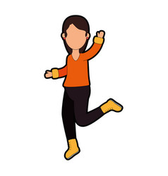 woman skating with winter clothes vector image