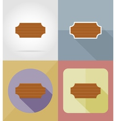 wooden board flat icons 16 vector image