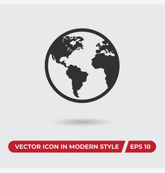 world icon in modern style for web site and vector image