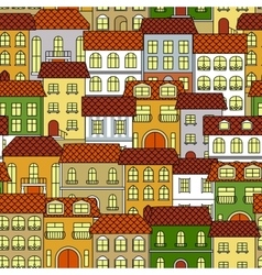 Cityscape seamless pattern with colorful houses vector image