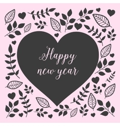 Floral heart with sign happy new year vector image vector image