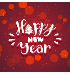 New Year hand drawn lettering on dark red vector image vector image