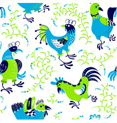 seamless pattern with roosters cute decorative vector image vector image