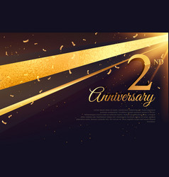 2nd anniversary celebration card template vector image vector image