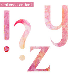 pink spring watercolor font yz and marks vector image vector image