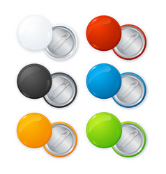 realistic empty color blank circle button badge vector image vector image