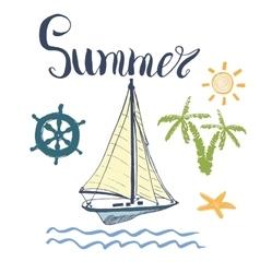 Summer yacht anchor navy vector