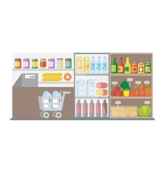 Supermarket shop interior Flat vector image