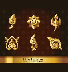 Thai art pattern set vector