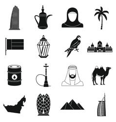 UAE travel icons set simple style vector image
