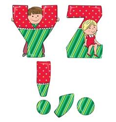 Alphabet kids YZ vector image