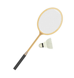 badminton racket and white shuttlecock with black vector image vector image