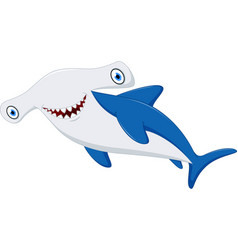 cute hammerhead shark cartoon vector image