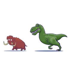 Hand drawn cartoon tyrannosaur chasing mammoth vector